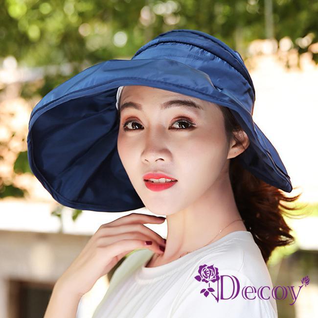 Decoy 加大帽沿 荷葉鏤空防曬遮陽帽 藍