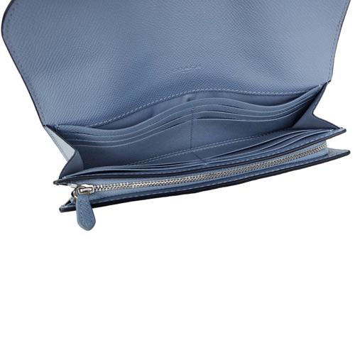 COACH水藍防刮皮革銀字飾牌釦式雙摺長夾