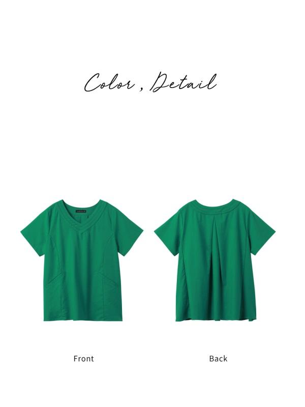 純色質感修身剪裁口袋V領拼接短袖上衣-OB嚴選