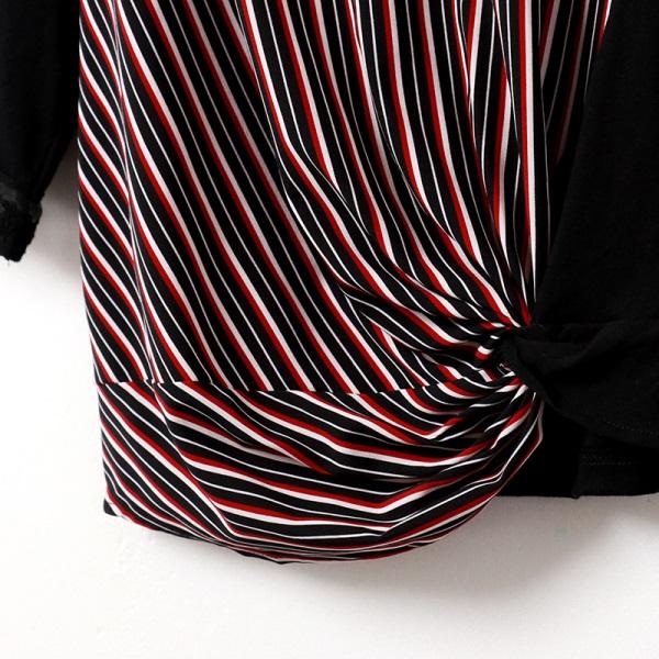 知性配色條紋扭結下襬七分蕾絲拼接袖上衣-OB嚴選