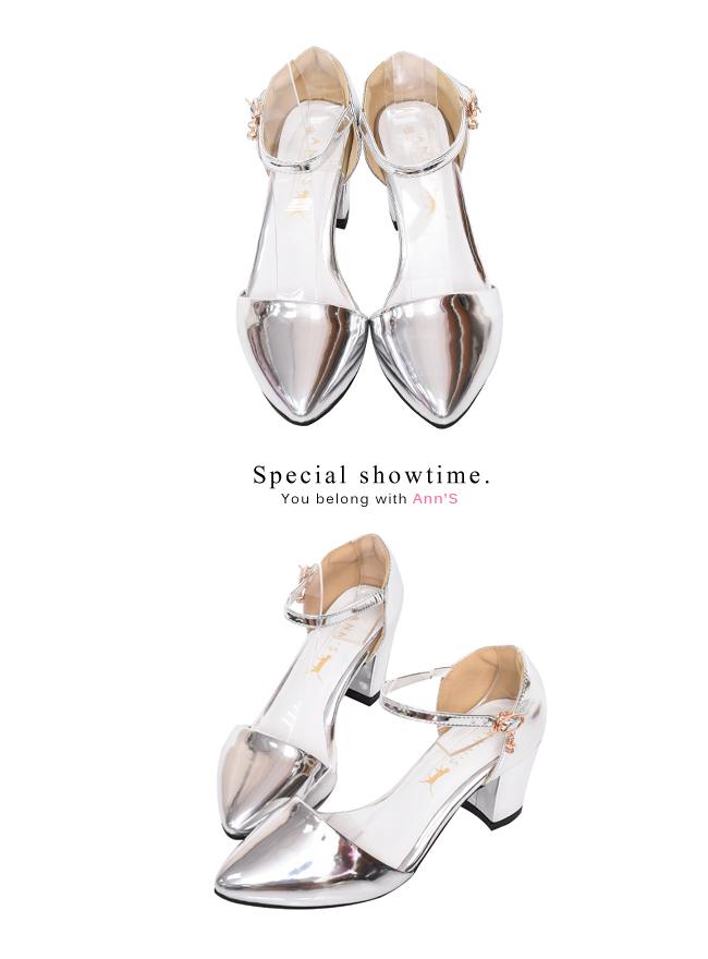 Ann'S Lovely-搖曳水鑽顯瘦側V繫踝尖頭粗跟鞋-銀(版型偏大)