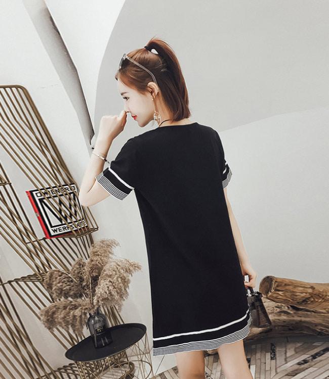 中大尺碼黑白條紋綁帶穿繩袖口下擺條紋拼接洋裝XL~4L-Ballet Dolly