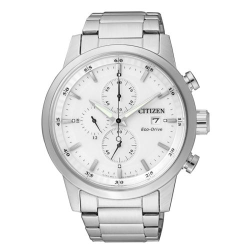 CITIZEN 簡約質感光動能三眼計時錶-白面/CA0610-52A