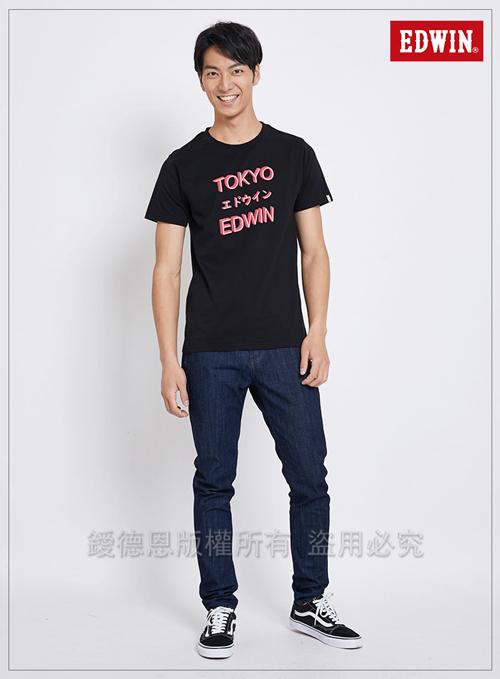 EDWIN 東京系列3M燈管TOKYO短袖T恤-男-黑色