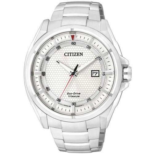 CITIZEN Eco-Drive 超級鈦光動能日期腕錶-AW1401-50A