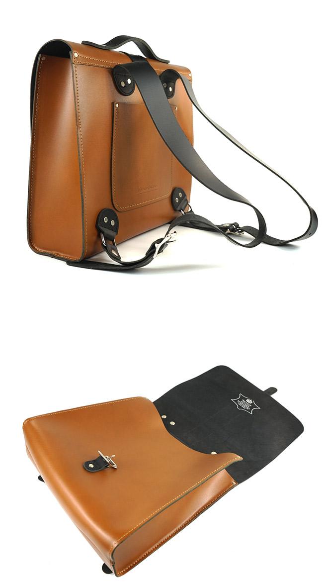 The Leather Satchel 英國手工牛皮限量聯名款後揹包 手提包 倫敦棕