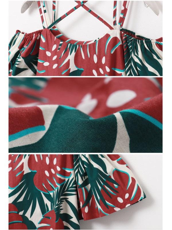 配色葉子印花雙肩帶設計荷葉寬袖露肩上衣-OB大尺碼