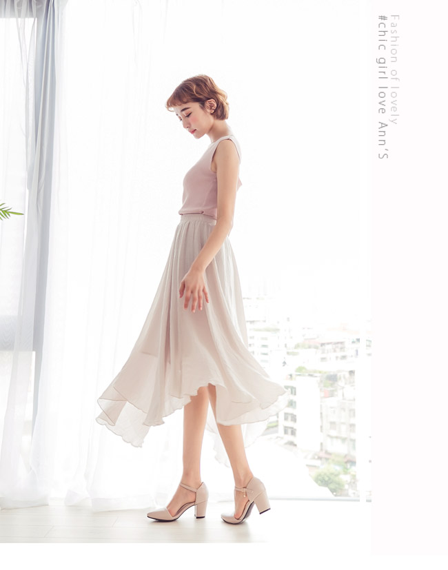 Ann'S Lovely-搖曳水鑽顯瘦側V繫踝尖頭粗跟鞋-藕粉(版型偏大)