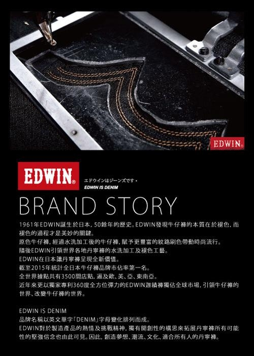 EDWIN 503 五袋式微刷破 牛仔短褲-男-石洗藍