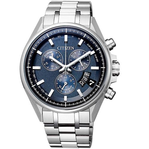 (無卡分期12期)CITIZEN星辰全球電波光動能限量鈦金屬腕錶(BY0140-57L)-藍