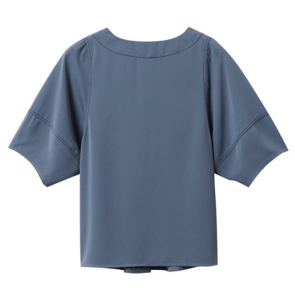 不易皺純色配色車縫v領排釦短袖上衣-OB嚴選