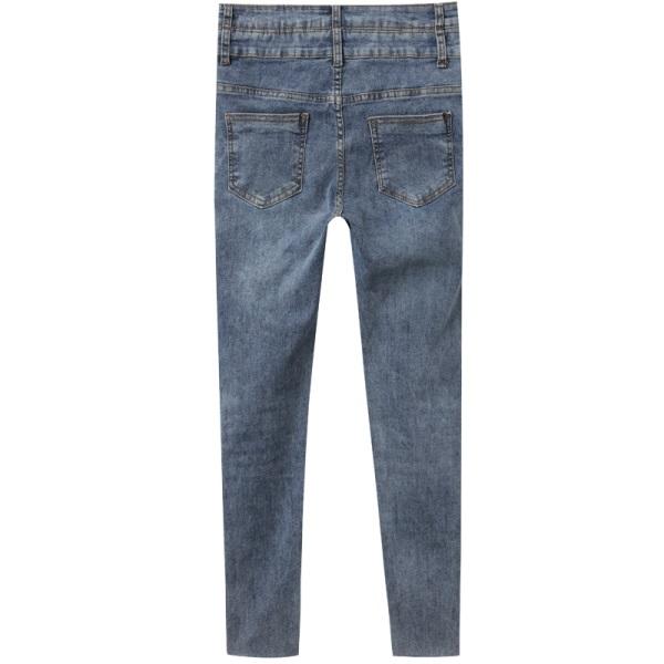 加壓收腹高彈雙腰頭水洗丹寧抽鬚窄管褲-OB大尺碼