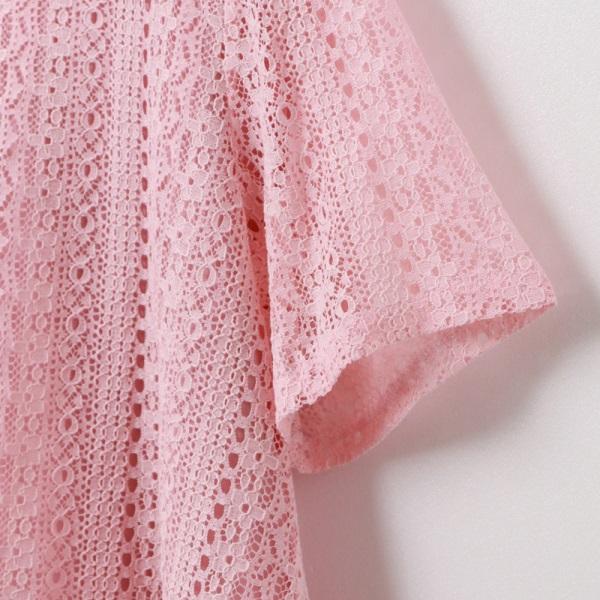 假兩件純色優雅布蕾絲拼接雪紡短袖上衣-OB嚴選