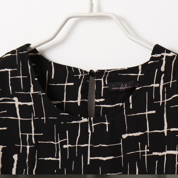 不易皺滿版層次線條印花五分澎袖上衣-OB嚴選