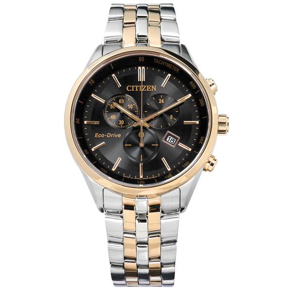 CITIZEN 星辰表 光動能三眼防水100米不鏽鋼手錶-黑x鍍香檳金/42mm