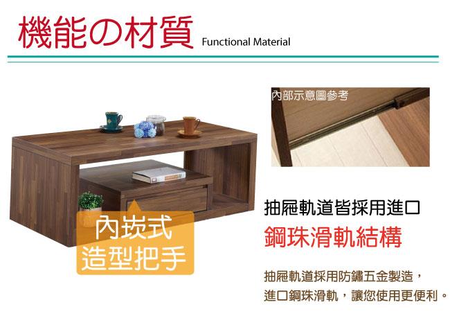 品家居 薩法爾4尺柚木紋單抽大茶几-120x60x45cm免組
