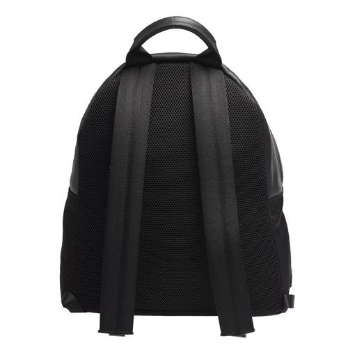 FENDI 經典金屬感MONSTER怪獸造型小牛皮拼接尼龍後背包(黑)