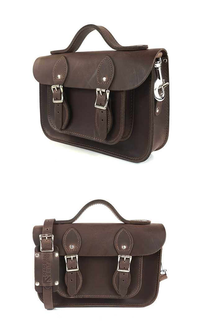 The Leather Satchel 英國手工牛皮劍橋包 肩背手提包 原色深咖啡 11吋