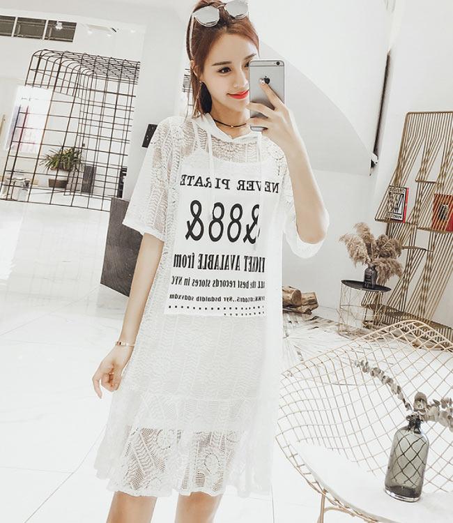 中大尺碼88蕾絲圈圈鏤空連帽洋裝細肩背心裙XL~4L-Ballet Dolly