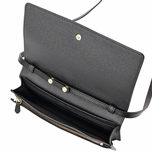 COACH 馬車LOGO皮夾式兩用手拿/斜背包 黑色