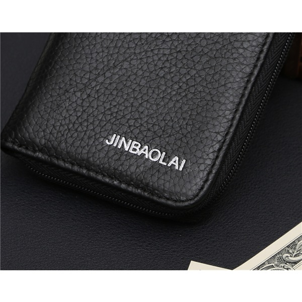 JINBAOLAI   GT1731BK真皮拉鍊迷你小零錢包皮夾黑色