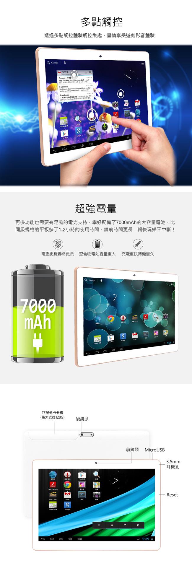 SuperPad 極速對決S 10.1吋四核心玩家版平板電腦 (2G/16G)