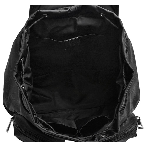 GUCCI 經典GG印花尼龍布雙口袋磁釦束口手提/後背包(黑)