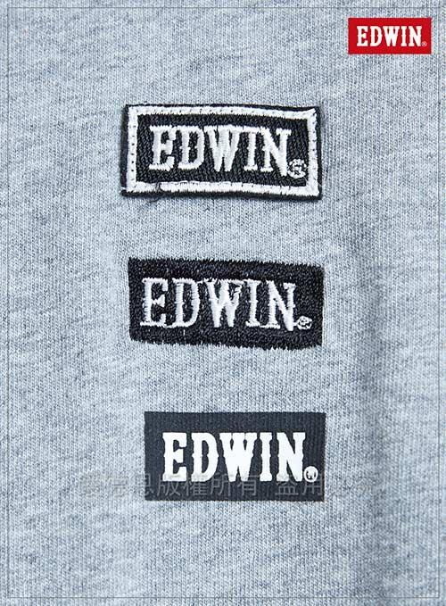 EDWIN 東京系列EDWIN徽章繡花短袖T恤-男-麻灰