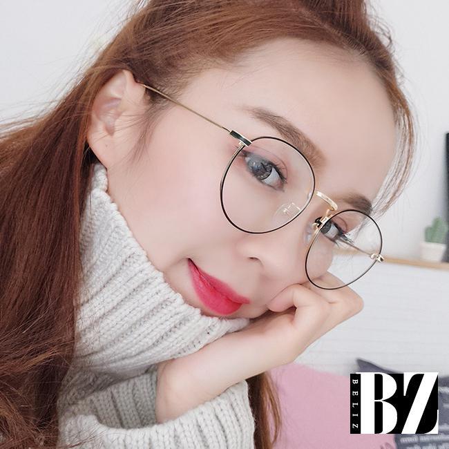 BeLiz 純白珍珠 玫瑰金黑圓框平光眼鏡