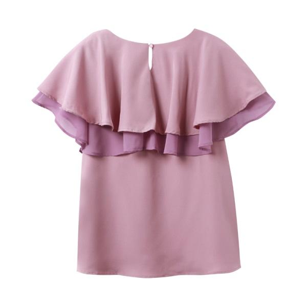 純色不易皺配色層次荷葉飄逸領拼接上衣-OB大尺碼