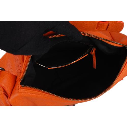 BALENCIAGA 巴黎世家經典機車包造型迷你肩背包(橘)