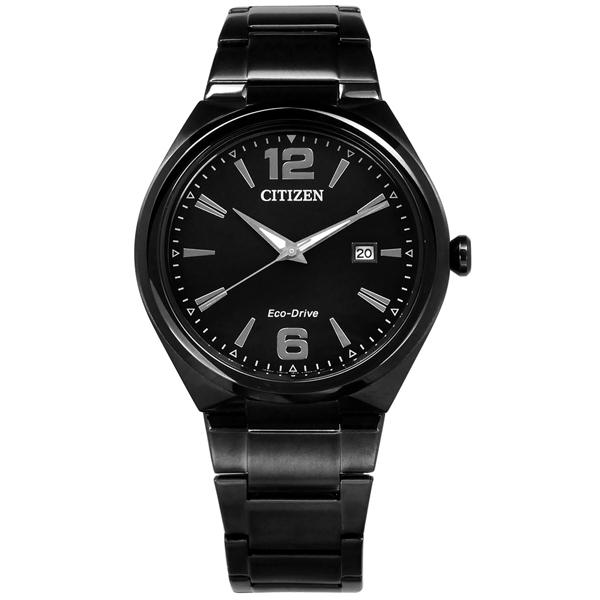 CITIZEN 星辰表 光動能日期礦石強化玻璃日本機芯不鏽鋼手錶-鍍黑/41mm