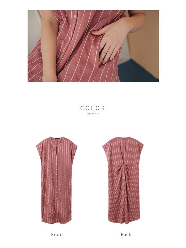 小V領直條紋背後造型排釦連袖寬鬆長洋裝-OB嚴選