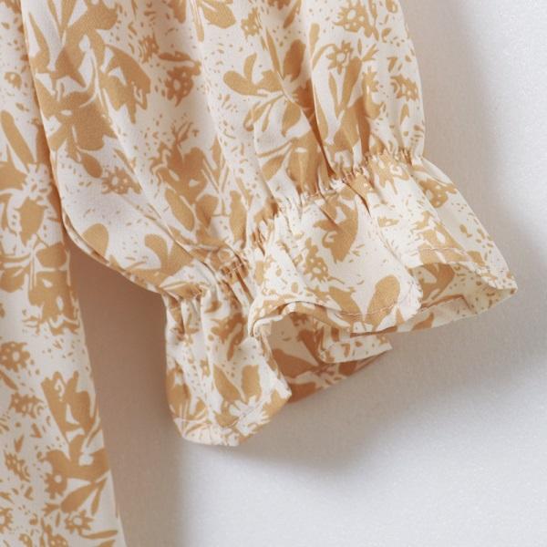 iMODA STAR-滿版春日優雅印花荷葉鬆緊一字/圓領七分袖上衣