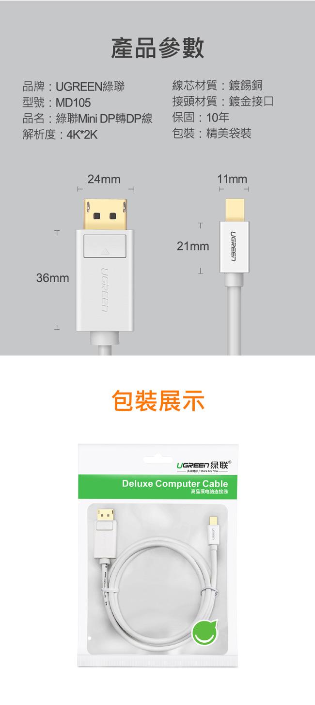 綠聯Mini DP轉DP傳輸線 4K版 黑色 1.5M