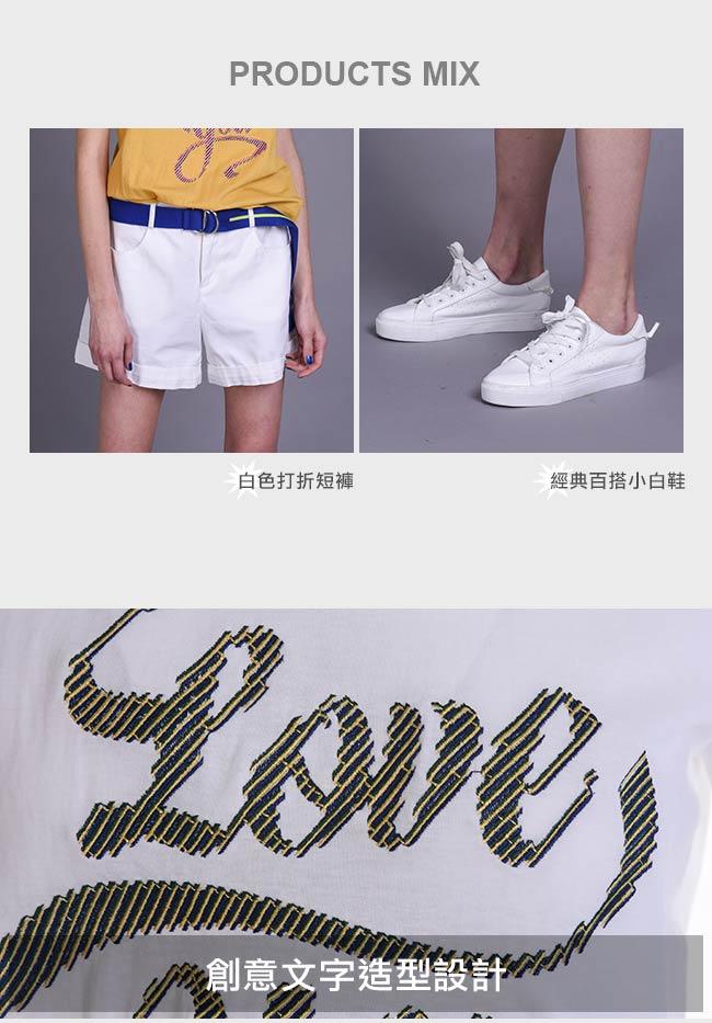gozo LOVE YOU創意文字造型上衣(白色)