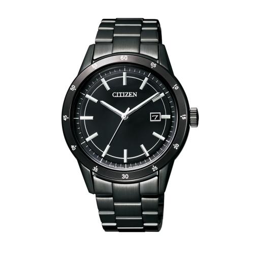 CITIZEN GENTS Eco-Drive 簡約經典時尚全黑鋼男錶/黑/AW1165-