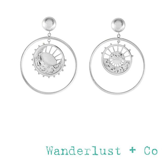 Wanderlust+Co 澳洲品牌 太陽月亮圓形銀耳環 曙光乍現光芒造型 DAWNING