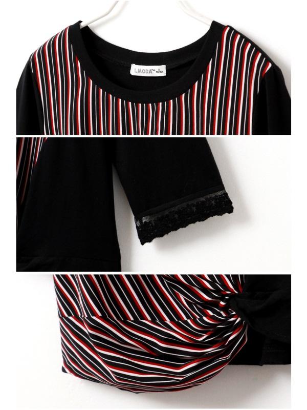 知性配色條紋扭結下襬七分蕾絲拼接袖上衣-OB大尺碼