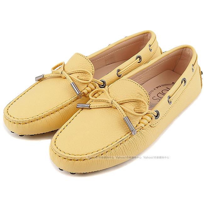 TOD'S Gommino 牛皮壓紋綁帶豆豆休閒鞋(女鞋/太陽黃)