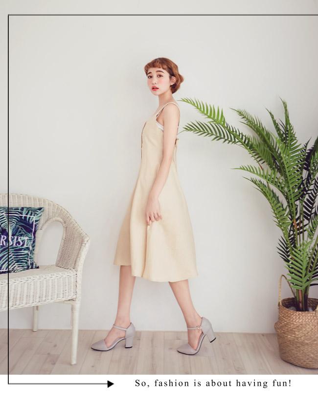 Ann'S Lovely-搖曳水鑽顯瘦側V繫踝尖頭粗跟鞋-杏灰(版型偏大)