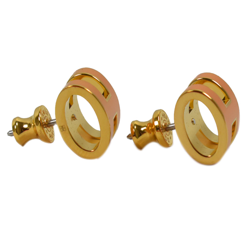 HERMES H POP款LOGO圓弧型耳針式耳環(柑橘/金)