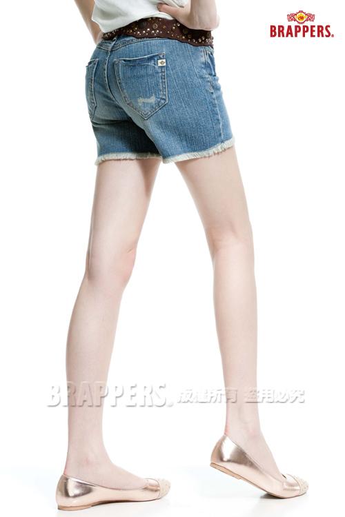 BRAPPERS 女款 新美腳 Royal 系列-彈性熱褲-淺藍