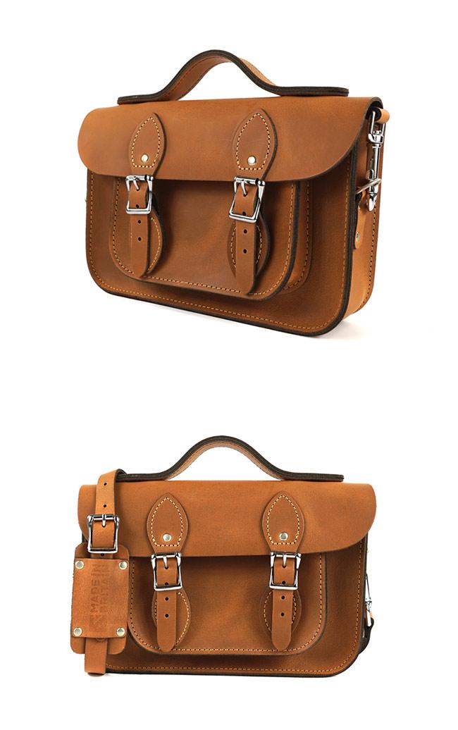 The Leather Satchel 英國手工牛皮劍橋包 肩背手提包 原色淺咖啡 11吋