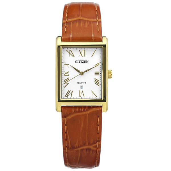 CITIZEN 星辰表 羅馬時標礦石強化玻璃日本機芯真皮手錶-白x金框x咖啡/25mm