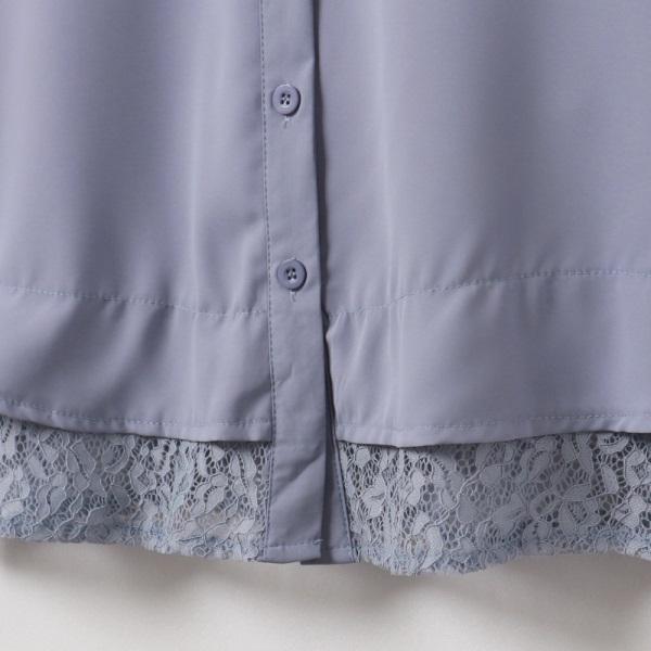 純色蕾絲拼接拋袖雪紡襯衫-OB嚴選