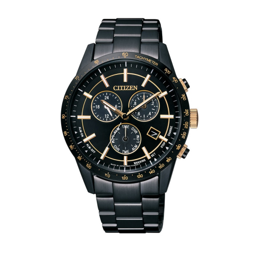 CITIZEN Eco-Drive 三眼計時都會時尚腕錶/黑*金/BL5495-56F