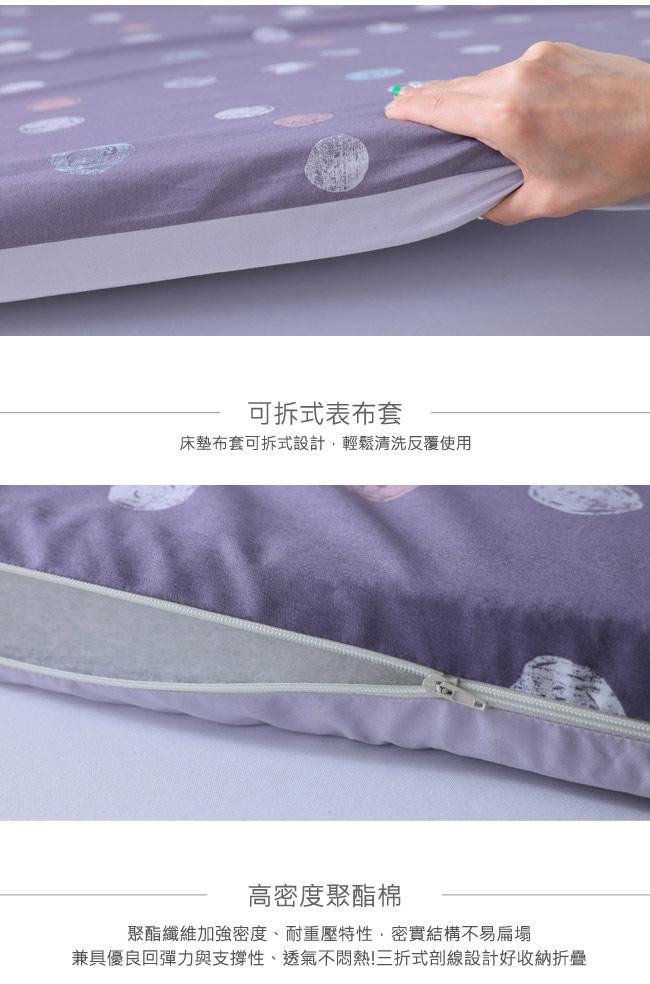 LAMINA 點點拓印精梳棉透氣床墊5cm-紫(單人)