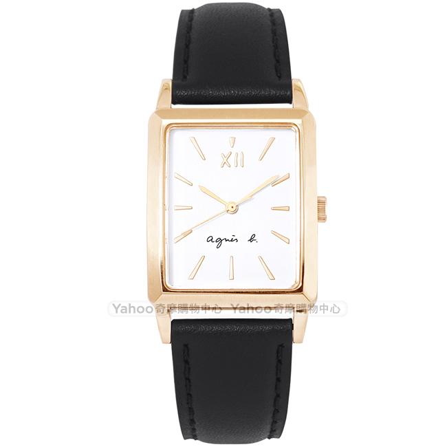 agnes b.簡約時尚真皮手錶方錶(BH8046X1)-白X黑/25mm