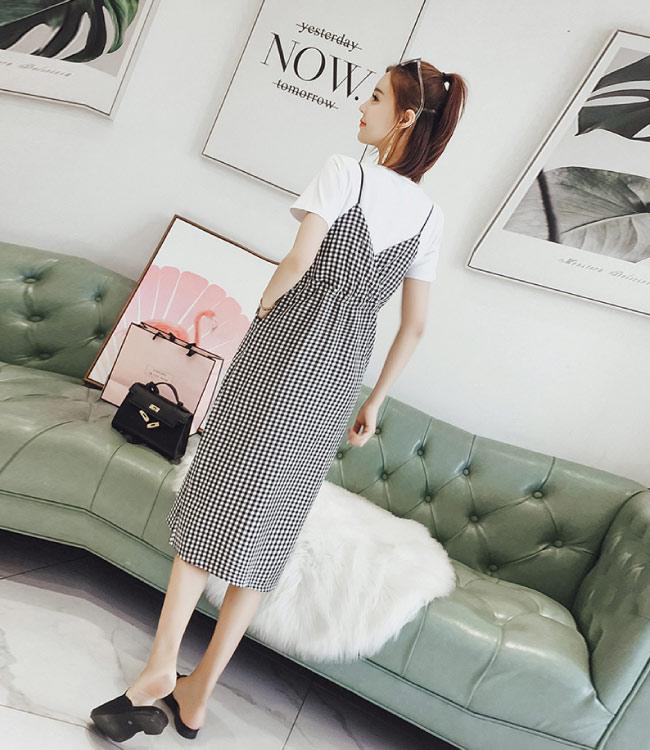 中大尺碼白色上衣細肩格子腰抽繩綁帶開叉洋裝XL~4L-Ballet Dolly